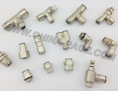 All metal push in fittings, air fittings, pneumatic fittings, one touch fittings