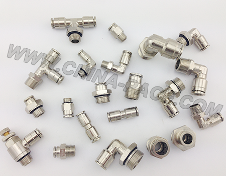 camozzi brass push in fittings, pneumatic fittings, all metal air fittings, Nickel Plated Push in Fittings