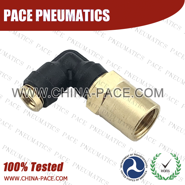 90 Degree Female Elbow DOT Push To Connect Air Brake Fittings, DOT Push In Air Brake Tube Fittings, DOT Approved Brass Push To Connect Fittings, DOT Fittings, DOT Air Line Fittings, Air Brake Parts