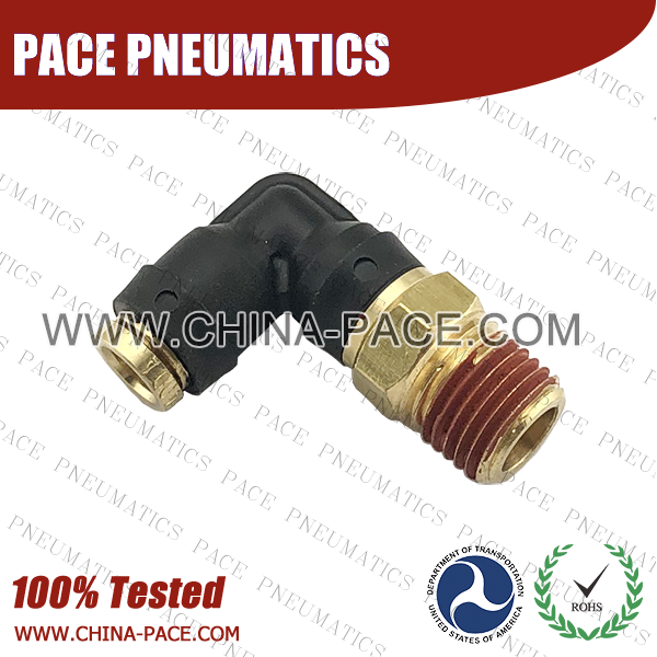 90 Degree Male Elbow DOT Push To Connect Air Brake Fittings, DOT Push In Air Brake Tube Fittings, DOT Approved Brass Push To Connect Fittings, DOT Fittings, DOT Air Line Fittings, Air Brake Parts