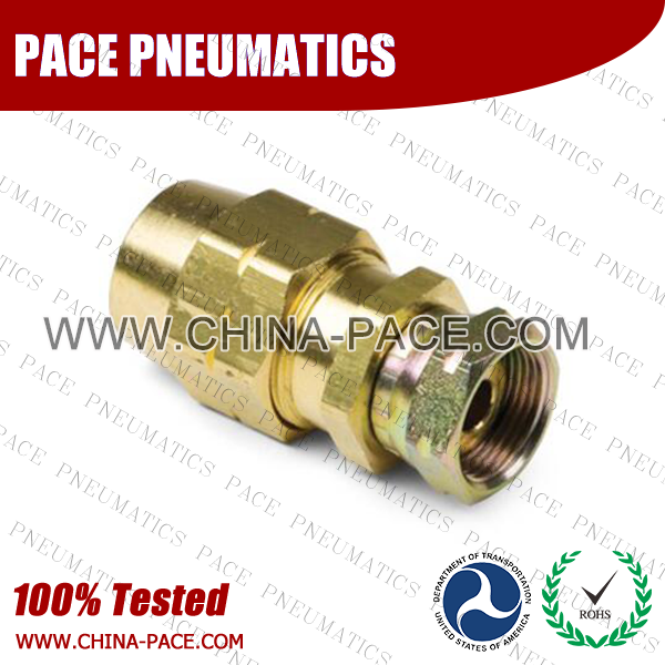 Female Swivel Connector, Air Brake DOT Compression Fittings For Rubber Hose, DOT Air brake Hose ends,  D.O.T. AIR BRAKE REUSABLE FITTINGS, DOT Brass Fittings, Air Brake Fittings for Rubber Tubing, Pneumatic Fittings, Brass Air Fittings