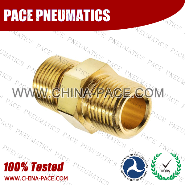 Hex Nipple Brass Pipe Fittings, Brass Threaded Fittings, Brass Hose Fittings,  Pneumatic Fittings, Brass Air Fittings, Hex Nipple, Hex Bushing, Coupling, Forged Fittings