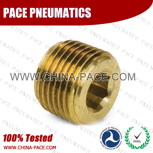 Hex Socket Plug, Brass Pipe Fittings, Brass Threaded Fittings, Brass Hose Fittings,  Pneumatic Fittings, Brass Air Fittings, Hex Nipple, Hex Bushing, Coupling, Forged Fittings