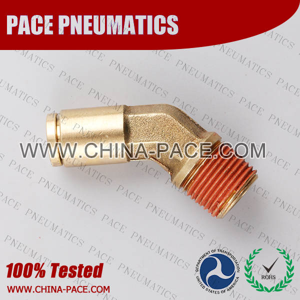 45 Degree Male ElbowDOT Push To Connect Air Brake Fittings, DOT Push In Air Brake Tube Fittings, DOT Approved Brass Push To Connect Fittings, DOT Fittings, DOT Air Line Fittings, Air Brake Parts