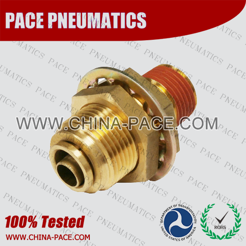 Bulkhead Male Straight DOT Push To Connect Air Brake Fittings, DOT Push In Air Brake Tube Fittings, DOT Approved Brass Push To Connect Fittings, DOT Fittings, DOT Air Line Fittings, Air Brake Parts