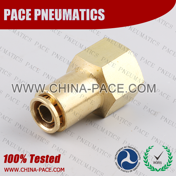 Female Straight DOT Push To Connect Air Brake Fittings, DOT Push In Air Brake Tube Fittings, DOT Approved Brass Push To Connect Fittings, DOT Fittings, DOT Air Line Fittings, Air Brake Parts