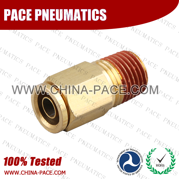 Male Straight DOT Push To Connect Air Brake Fittings, DOT Push In Air Brake Tube Fittings, DOT Approved Brass Push To Connect Fittings, DOT Fittings, DOT Air Line Fittings, Air Brake Parts