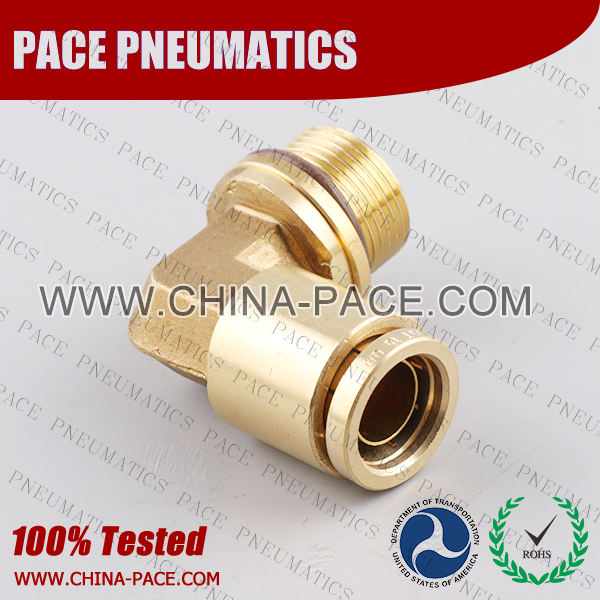 Metric Thread Male Elbow Non Swivel DOT Push To Connect Air Brake Fittings, DOT Push In Air Brake Tube Fittings, DOT Approved Brass Push To Connect Fittings, DOT Fittings, DOT Air Line Fittings, Air Brake Parts
