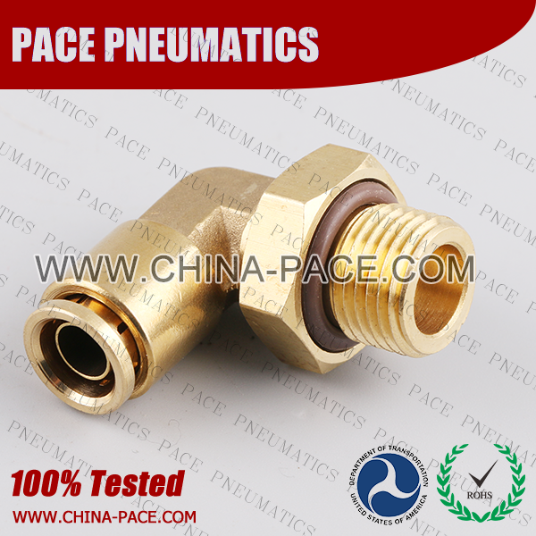 Metric Thread Male Elbow Swivel DOT Push To Connect Air Brake Fittings, DOT Push In Air Brake Tube Fittings, DOT Approved Brass Push To Connect Fittings, DOT Fittings, DOT Air Line Fittings, Air Brake Parts
