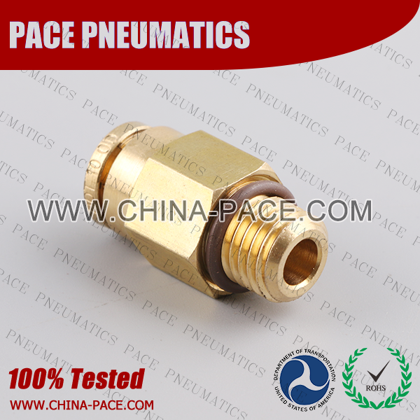 Metric Thread Male Straight DOT Push To Connect Air Brake Fittings, DOT Push In Air Brake Tube Fittings, DOT Approved Brass Push To Connect Fittings, DOT Fittings, DOT Air Line Fittings, Air Brake Parts