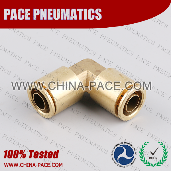 Union Elbow DOT Push To Connect Air Brake Fittings, DOT Push In Air Brake Tube Fittings, DOT Approved Brass Push To Connect Fittings, DOT Fittings, DOT Air Line Fittings, Air Brake Parts