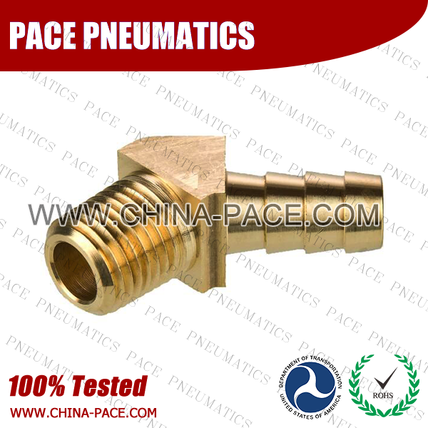 Barstock 45 Degree Male Elbow Hose Barb Fittings, Brass Hose Fittings, Brass Hose Splicer, Brass Hose Barb Pipe Threaded Fittings, Pneumatic Fittings, Brass Air Fittings