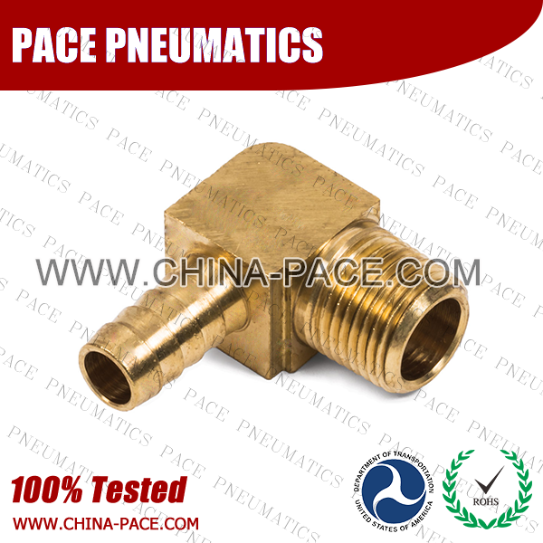 Barstock 90 Degree Male Elbow Hose Barb Fittings, Brass Hose Fittings, Brass Hose Splicer, Brass Hose Barb Pipe Threaded Fittings, Pneumatic Fittings, Brass Air Fittings