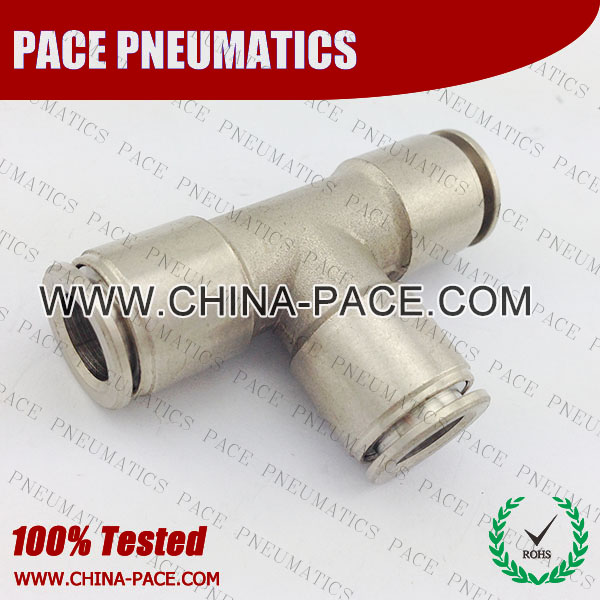 PMPE, All metal Pneumatic Fittings with NPT AND BSPT thread, Air Fittings, one touch tube fittings, Pneumatic Fitting, Nickel Plated Brass Push in Fittings