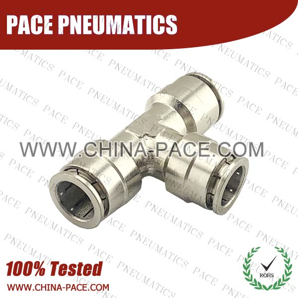 cmpe,Pneumatic Fittings with npt and bspt thread, Air Fittings, one touch tube fittings, Pneumatic Fitting, Nickel Plated Brass Push in Fittings