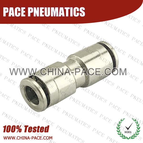 Union Straight Nickel Plated Brass Push To Connect Fittings, All Metal Push To Connect Fittings, All Brass Push In Fittings, Camozzi Type Brass Pneumatic Fittings