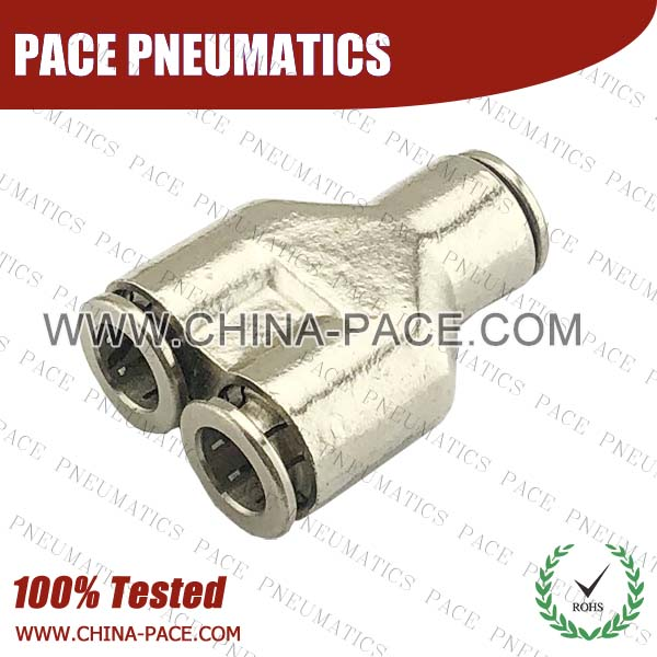 cmpy,Pneumatic Fittings with npt and bspt thread, Air Fittings, one touch tube fittings, Pneumatic Fitting, Nickel Plated Brass Push in Fittings