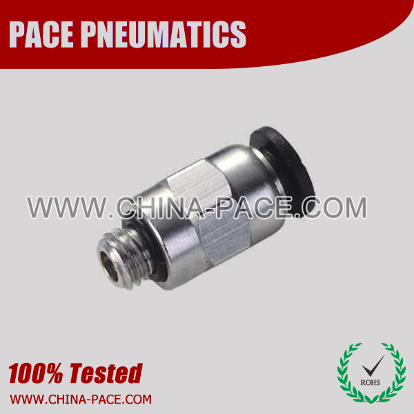 Compact Male Straight One Touch Fittings, Compact Push To Connect Fittings, Miniature Pneumatic Fittings, Air Fittings, one touch tube fittings, Pneumatic Fitting, Nickel Plated Brass Push in Fittings