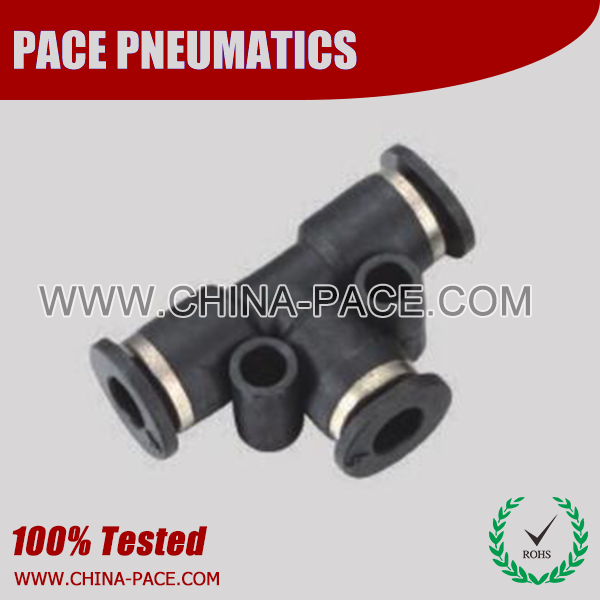 Compact Union Tee one touch tube fittings, Compact Push To Connect Fittings, Miniature Pneumatic Fittings, Air Fittings, one touch tube fittings, Pneumatic Fitting, Nickel Plated Brass Push in Fittings.