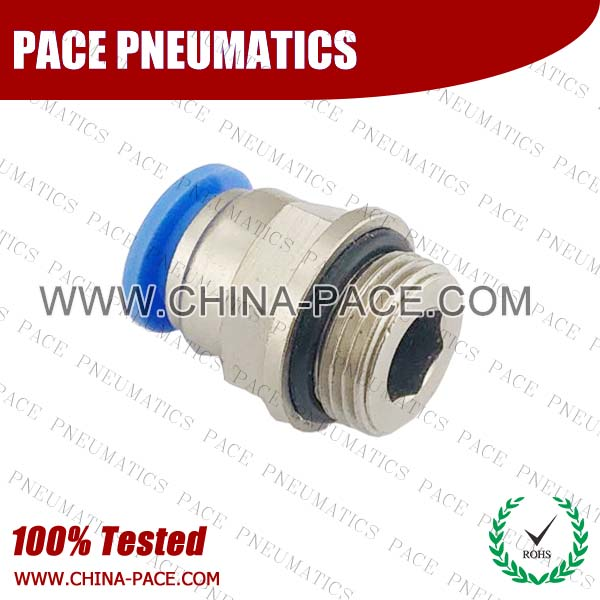 PC-G,Pneumatic Fittings with BSPP thread, Air Fittings, one touch tube fittings, Pneumatic Fitting, Nickel Plated Brass Push in Fittings