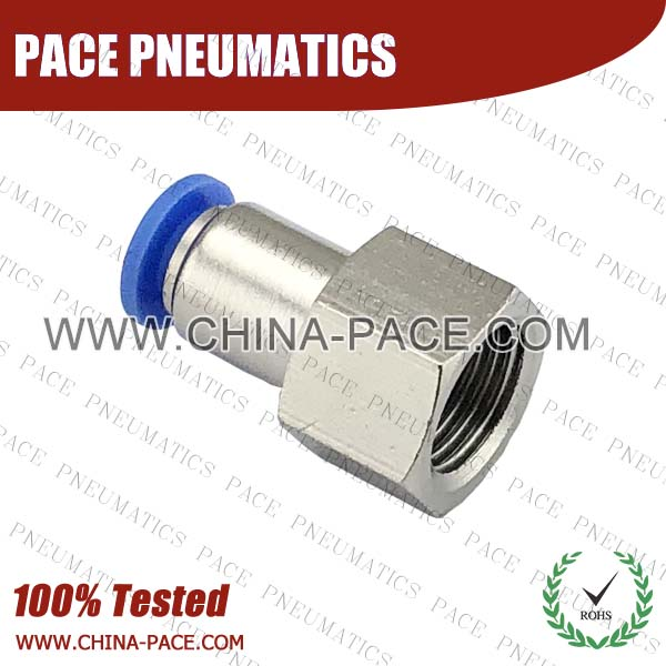 Polymer Push To Connect Fittings Female Straight BSPP Thread, G Thread Female Straight Composite Push In Air Fittings, Female Straight Plastic one touch tube fittings, Pneumatic Fitting, Nickel Plated Brass Push in Fittings