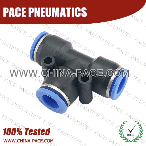 Composite Push In Fittings Union Tee, Polymer Push To Connect Fittings, Plastic Pneumatic Fittings, Air Fittings, one touch tube fittings, Pneumatic Fitting, Nickel Plated Brass Push in Fittings, pneumatic accessories.