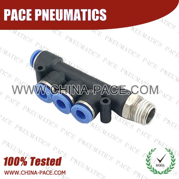 PKB,Pneumatic Fittings with npt and bspt thread, Air Fittings, one touch tube fittings, Pneumatic Fitting, Nickel Plated Brass Push in Fittings