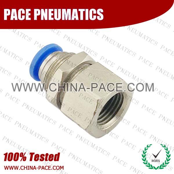 PMF,Pneumatic Fittings with npt and bspt thread, Air Fittings, one touch tube fittings, Pneumatic Fitting, Nickel Plated Brass Push in Fittings