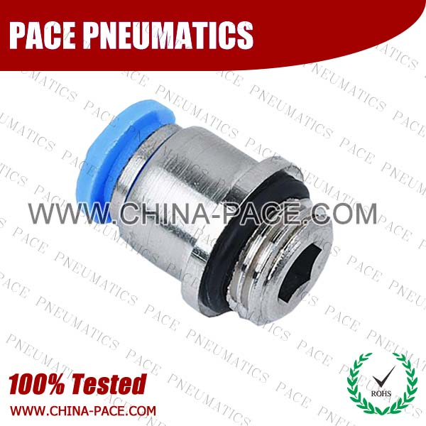 POC-G,Pneumatic Fittings with BSPP thread, Air Fittings, one touch tube fittings, Pneumatic Fitting, Nickel Plated Brass Push in Fittings