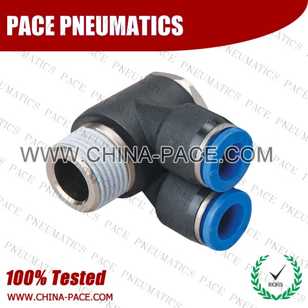 Branch Universal Male Elbow Push To Connect Fittings, Pneumatic Fittings, Air Fittings, one touch tube fittings, Pneumatic Fitting, Nickel Plated Brass Push in Fittings, pneumatic accessories.