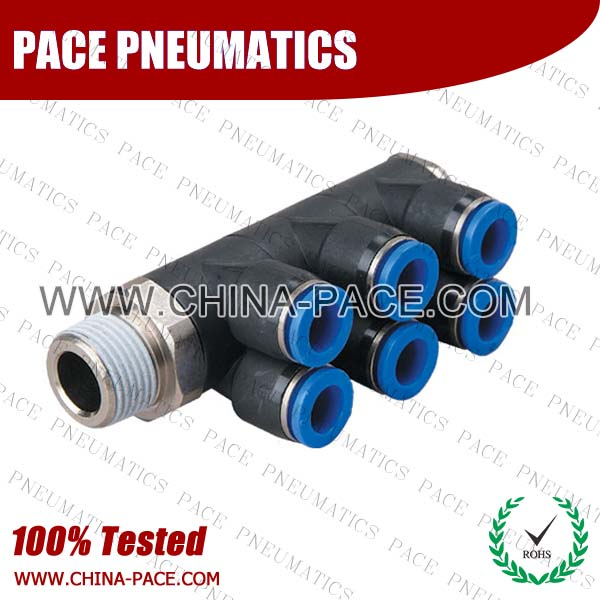 Triple Branch Universal Male Elbow Polymer Push To Connect Fittings, Composite Pneumatic Fittings, Plastic Air Fittings, one touch tube fittings, Pneumatic Fitting, Nickel Plated Brass Push in Fittings, pneumatic accessories.