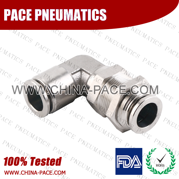 Bulkhead Elbow Stainless Steel Push To Connect Fittings, Elbow Bulkhead Stainless Steel Push In Fittings