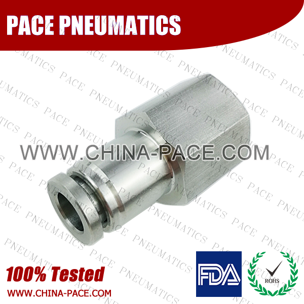 stainless steel female straight fittings, stainless steel female staight push in fittings