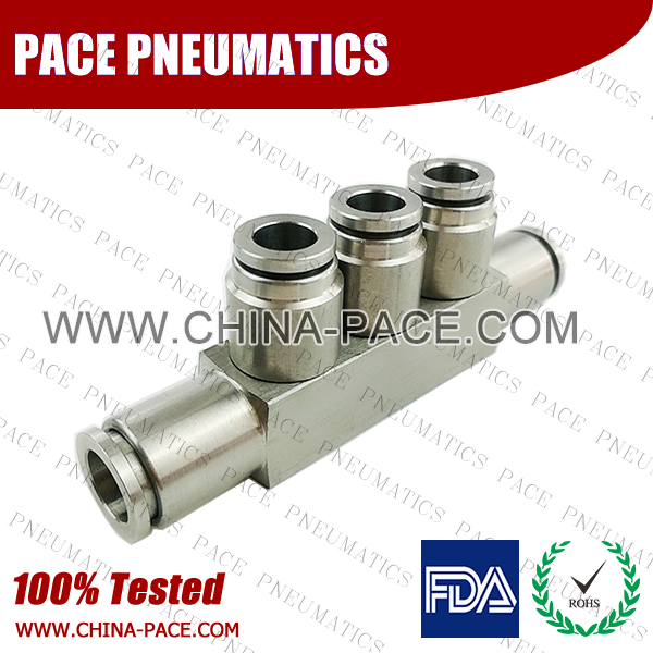 Five Way Union Stainless Steel Push In Fittings, 316 SS Push To Connect Fittings