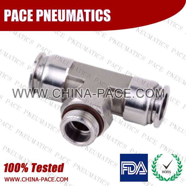 BSPP Male Branch Tee Stainless Steel Push-In Fittings, 316 stainless steel push to connect fittings, Air Fittings, one touch tube fittings, all metal push in fittings, Push to Connect Fittings, Pneumatic Fittings