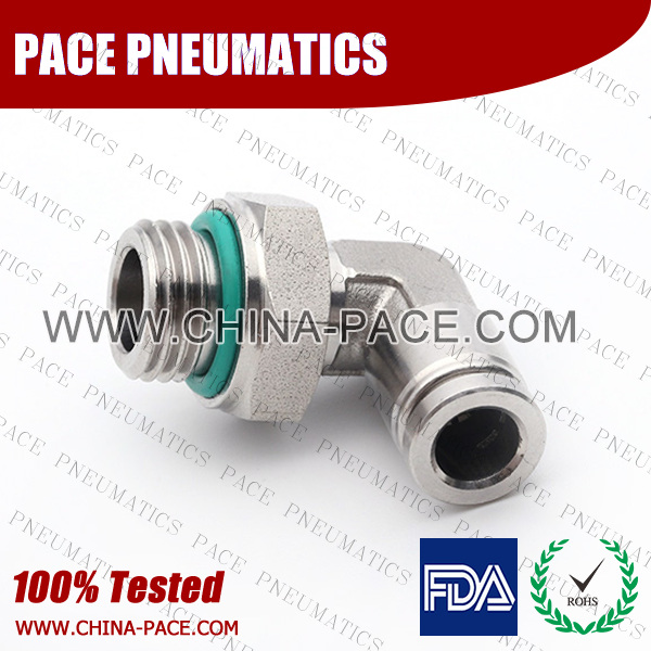 BSPP Male Elbow Stainless Steel Push-In Fittings, 316 stainless steel push to connect fittings, Air Fittings, one touch tube fittings, all metal push in fittings, Push to Connect Fittings, Pneumatic Fittings