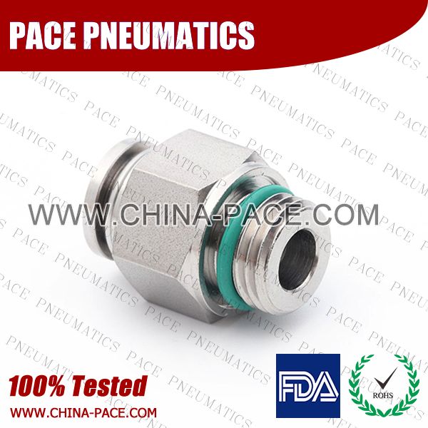 G Thread Male Adapter Stainless Steel Push-In Fittings, 316 stainless steel push to connect fittings, Air Fittings, one touch tube fittings, all metal push in fittings, Push to Connect Fittings, Pneumatic Fittings