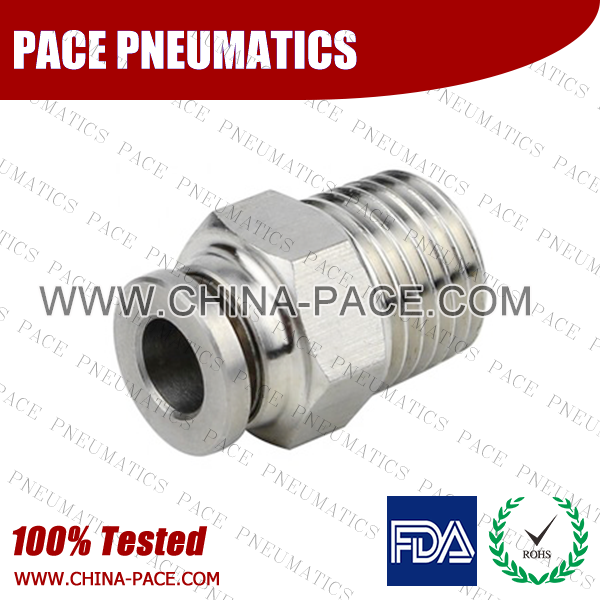 Male Adapter Stainless Steel Push-In Fittings, 316 stainless steel push to connect fittings, Air Fittings, one touch tube fittings, all metal push in fittings, Push to Connect Fittings, Pneumatic Fittings