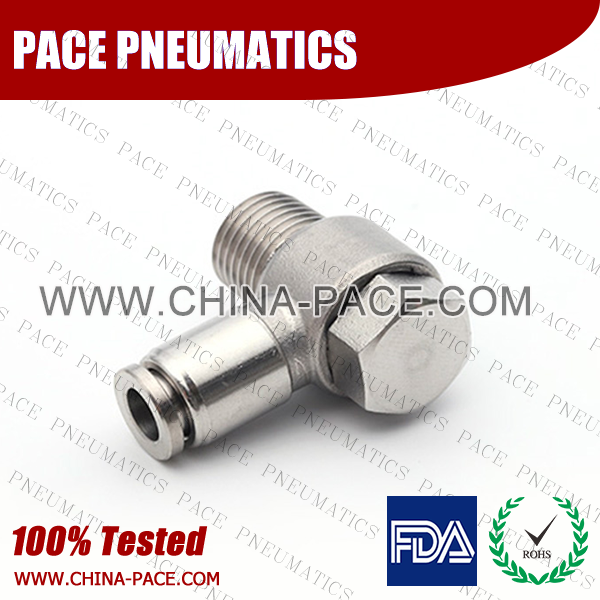 Male Banjo Stainless Steel Push To Connect Fittings, Male Banjo Elbow SS Push In Fittings
