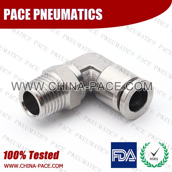 Male Elbow Stainless Steel Push-In Fittings, 316 stainless steel push to connect fittings, Air Fittings, one touch tube fittings, all metal push in fittings, Push to Connect Fittings, Pneumatic Fittings