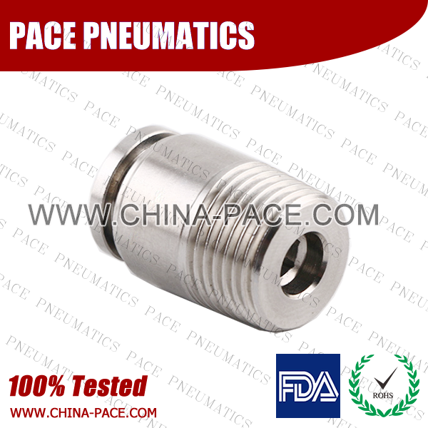 Round Male Straight Stainless Steel Push In Fittings, Round Male Adapter SS Push To Connect Fittings