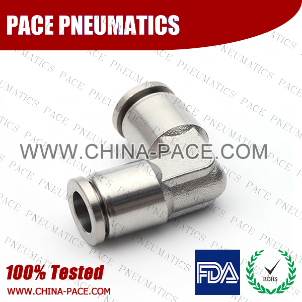union elbow Stainless Steel Push-In Fittings, 316 stainless steel push to connect fittings, Air Fittings, one touch tube fittings, all metal push in fittings, Push to Connect Fittings, Pneumatic Fittings