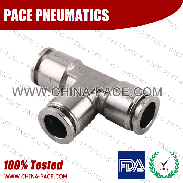 union Tee Stainless Steel Push-In Fittings, 316 stainless steel push to connect fittings, Air Fittings, one touch tube fittings, all metal push in fittings, Push to Connect Fittings, Pneumatic Fittings