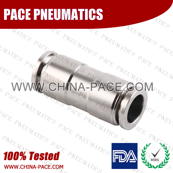 union straight Stainless Steel Push-In Fittings, 316 stainless steel push to connect fittings, Air Fittings, one touch tube fittings, all metal push in fittings, Push to Connect Fittings, Pneumatic Fittings