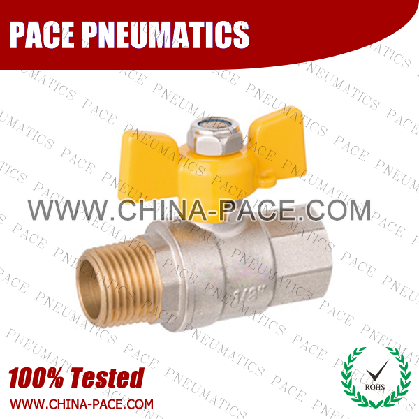 Butterfly Nickel Plated Brass MINI BALL VALVE, MALE TO FEMALE