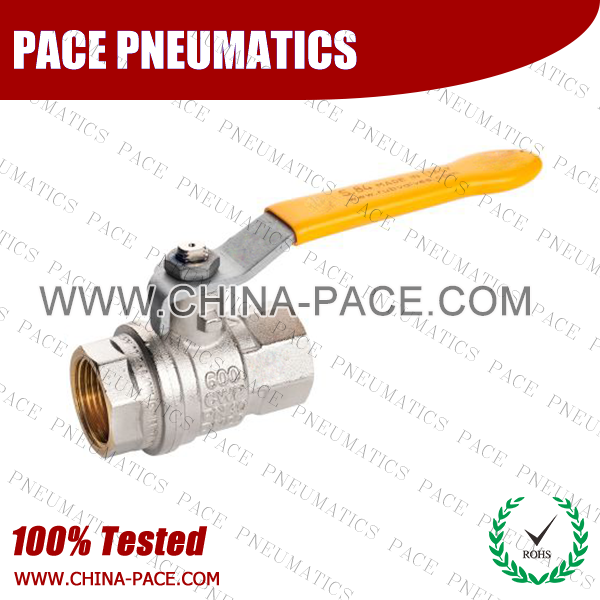 Long Handle Nickel Plated Brass MINI BALL VALVE, FEMALE TO FEMALE