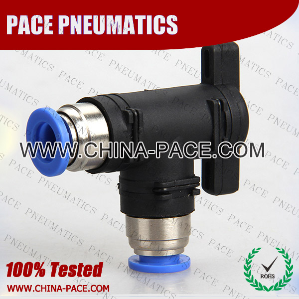 Push To Connect Elbow Ball Valve, Push In Elbow Hand Ball Valve, Pneumatic Fittings, Air Fittings, one touch tube fittings, Pneumatic Fitting, Nickel Plated Brass Push in Fittings