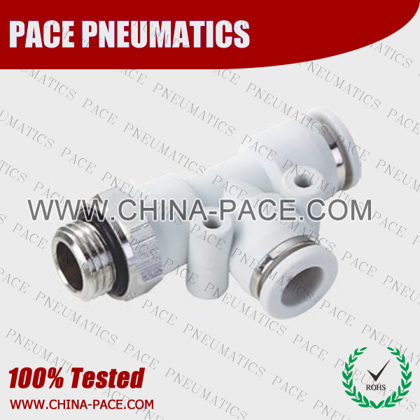 Grey White Polymer Push To Connect Fittings Male Run Tee With G Thread, Composite Pneumatic Fittings, Air Fittings, one touch tube fittings, Pneumatic Fitting, Nickel Plated Brass Push in Fittings, pneumatic accessories.