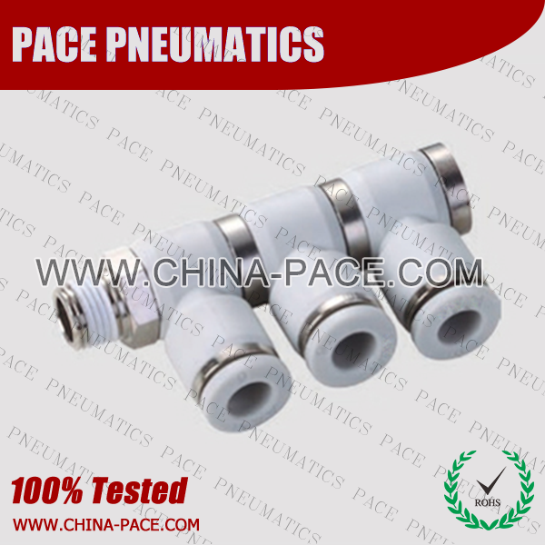 Grey White Push In Fittings Triple Universal Banjo Elbow Swivel, Composite Pneumatic Fittings, Push To Connect Fittings, polymer Air Fittings, one touch tube fittings, Pneumatic Fitting, Nickel Plated Brass Push in Fittings, pneumatic accessories.